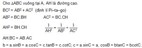 B10. Hệ thức lượng trong tam giác vuông – Giải tam giác vuông